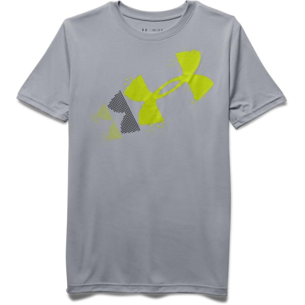 UNDER ARMOUR Boys' Rising Logo Short-Sleeve Tee - OVERCAST GREY-941