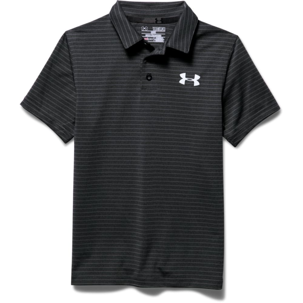 UNDER ARMOUR Boys' Composite Stripe Polo - ASPHALT-005