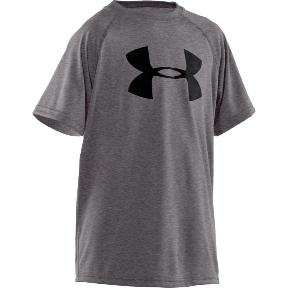 UNDER ARMOUR Boys' UA Tech Big Logo Tee - 090 CARBON HTR/BLK