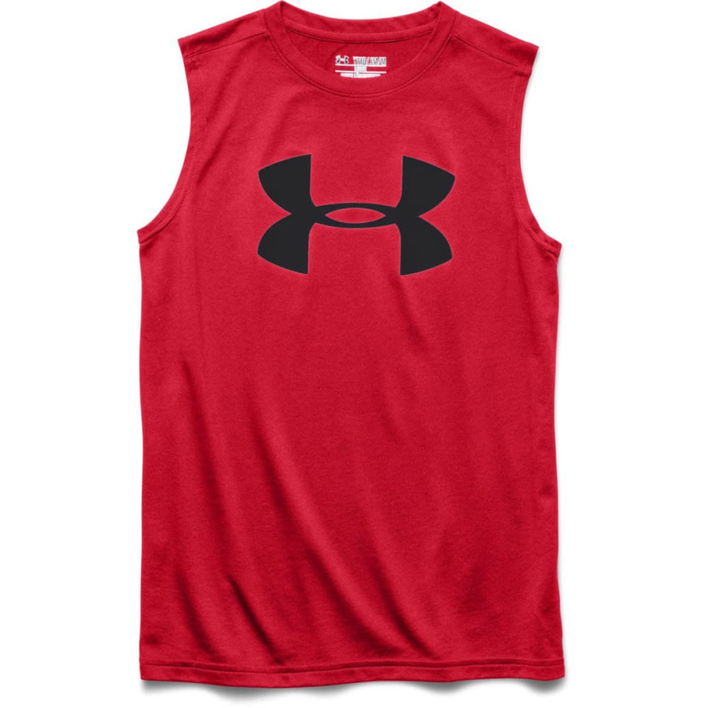 UNDER ARMOUR Boys' Tech Big Logo Sleeveless T - RISK RED/BLACK