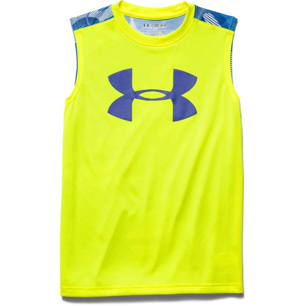 UNDER ARMOUR Boys' Tech Big Logo Sleeveless T - YELLOW RAY/AMERICAN