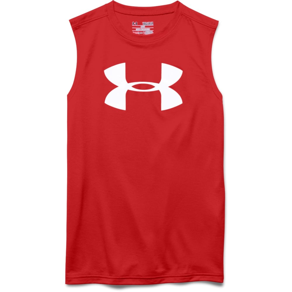 UNDER ARMOUR Boys' Big Logo Sleeveless Graphic Tee - RED-600