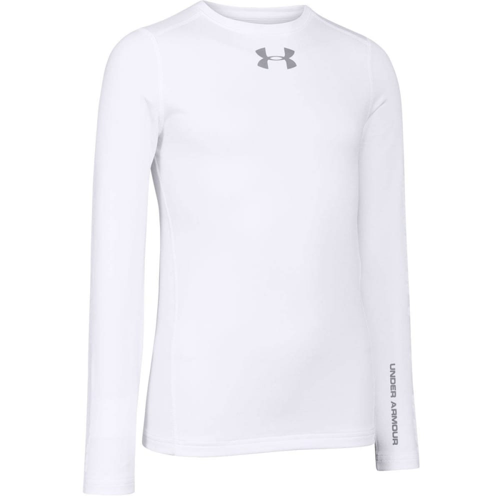 Under Armour Boys UA Coldgear Armour Fitted Crew - WHITE