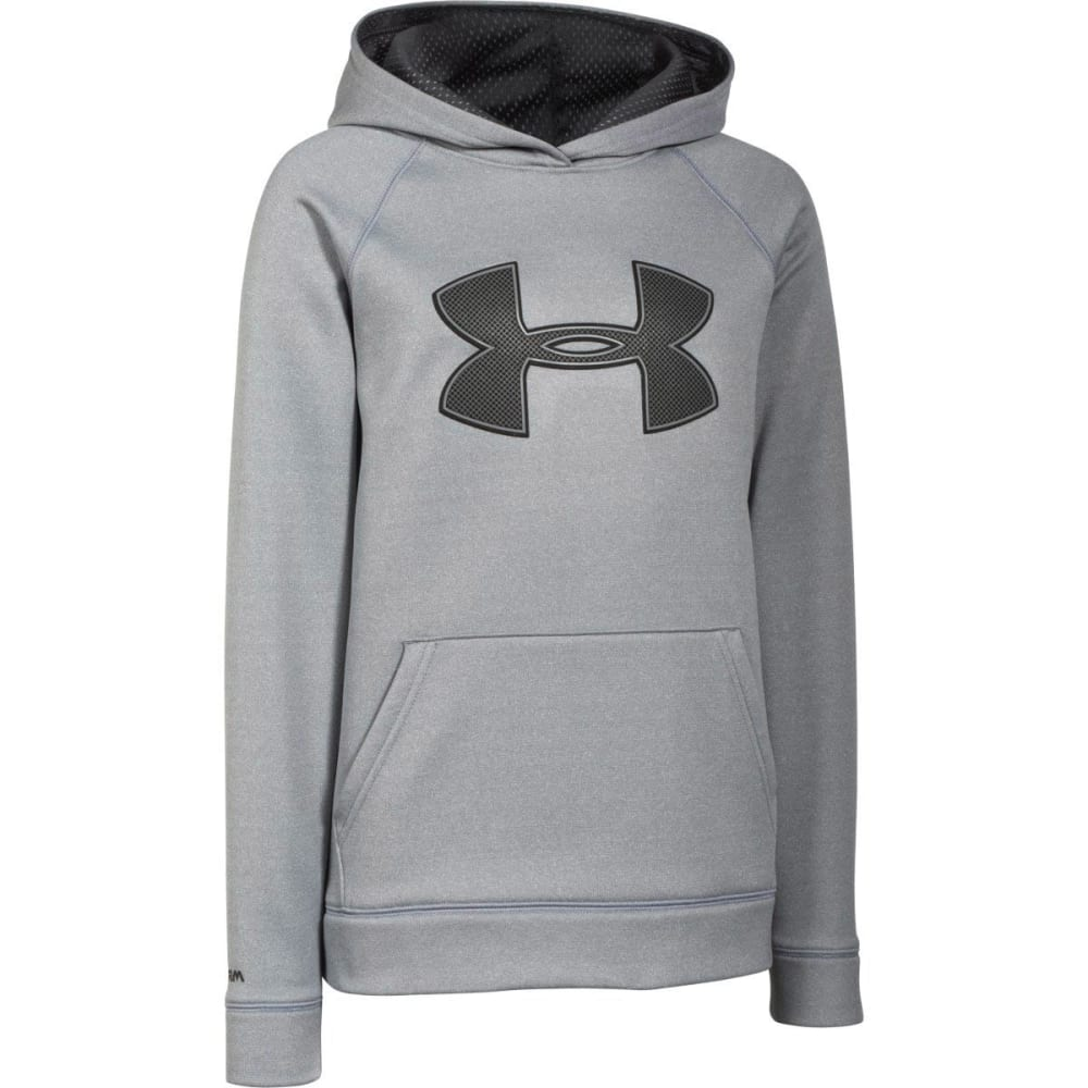 UNDER ARMOUR Boys' Storm Big Logo Fleece Hoodie - GREY HEATHER