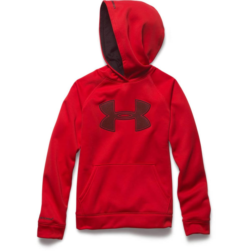 UNDER ARMOUR Boys' Storm Big Logo Fleece Hoodie - RED/BLACK