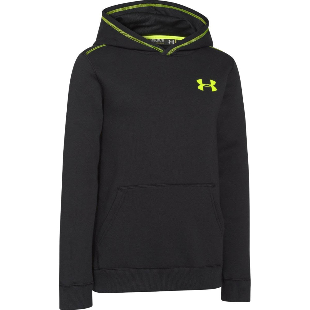 UNDER ARMOUR Boy's Rival Fleece Hoodie - BLACK/HIVIS