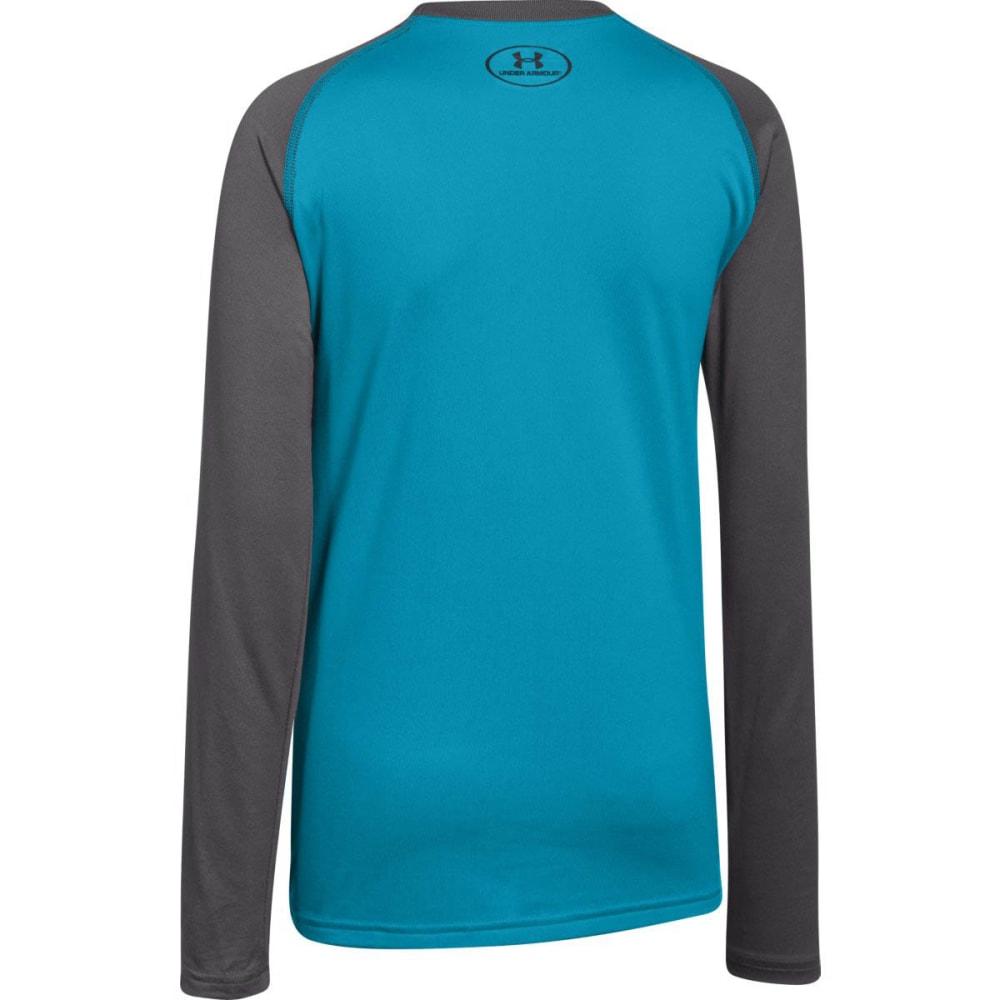 UNDER ARMOUR Boys' Big Logo Tech T-Shirt, L/S - PACIFIC BLUE