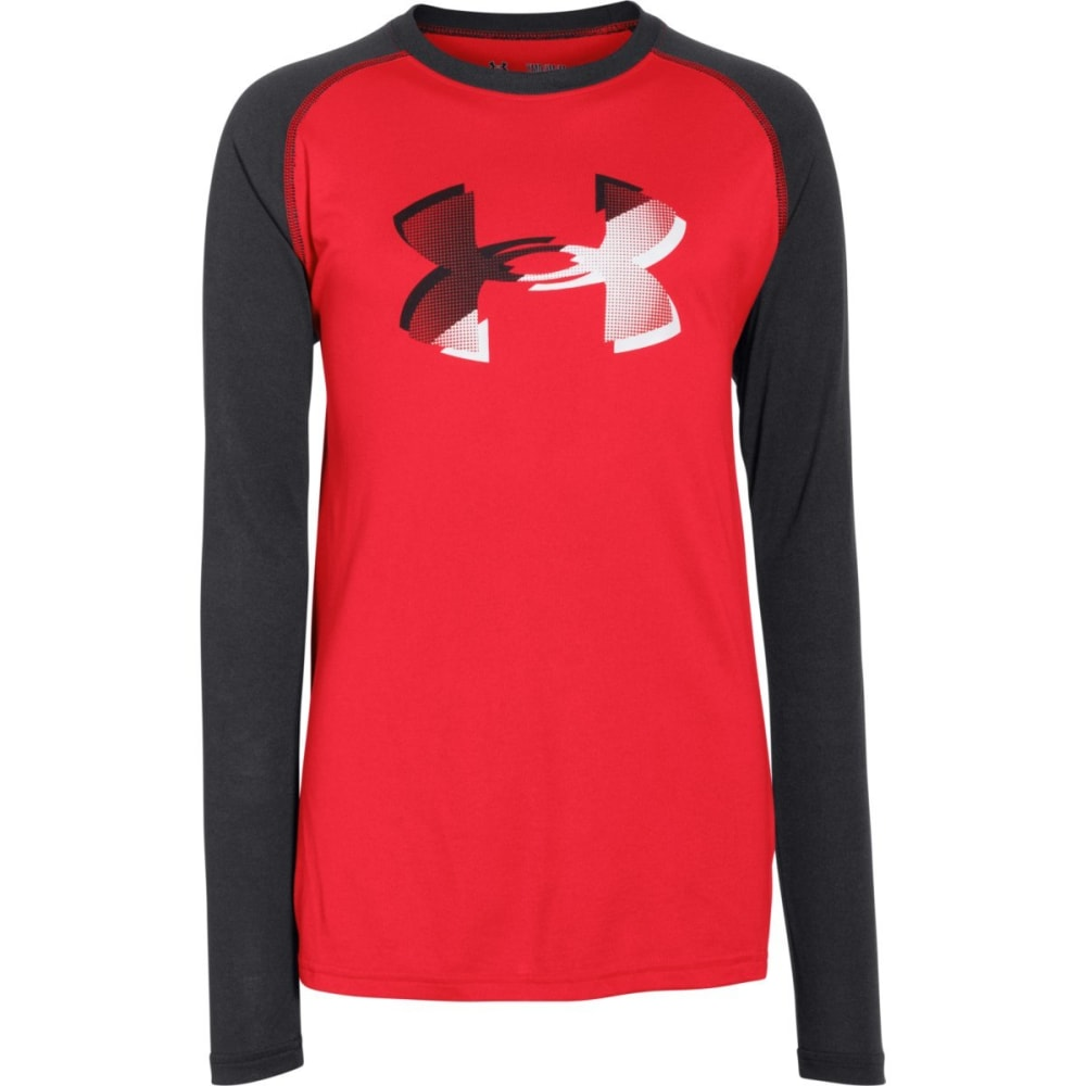 UNDER ARMOUR Boys' Big Logo Tech T-Shirt, L/S - RED/BLACK