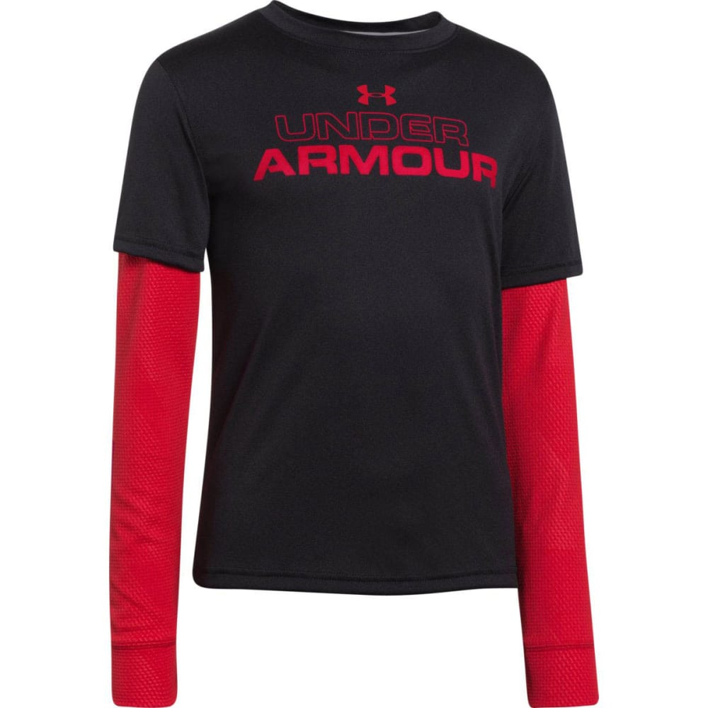 UNDER ARMOUR Boy's Dynamism Long Sleeve Tee - BLACK/RED