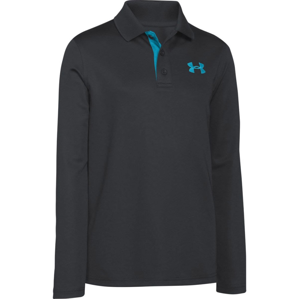 UNDER ARMOUR Boys' Match Play Long-Sleeve Polo - ANTHRACITE