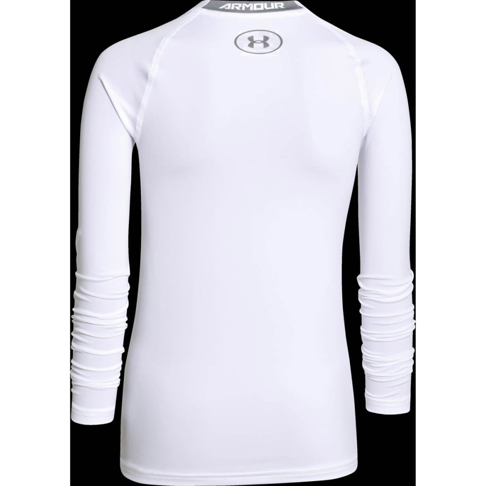 Under Armour Boys Heatgear Armour Fitted Long Sleeve Top - WHITE/STEEL-100
