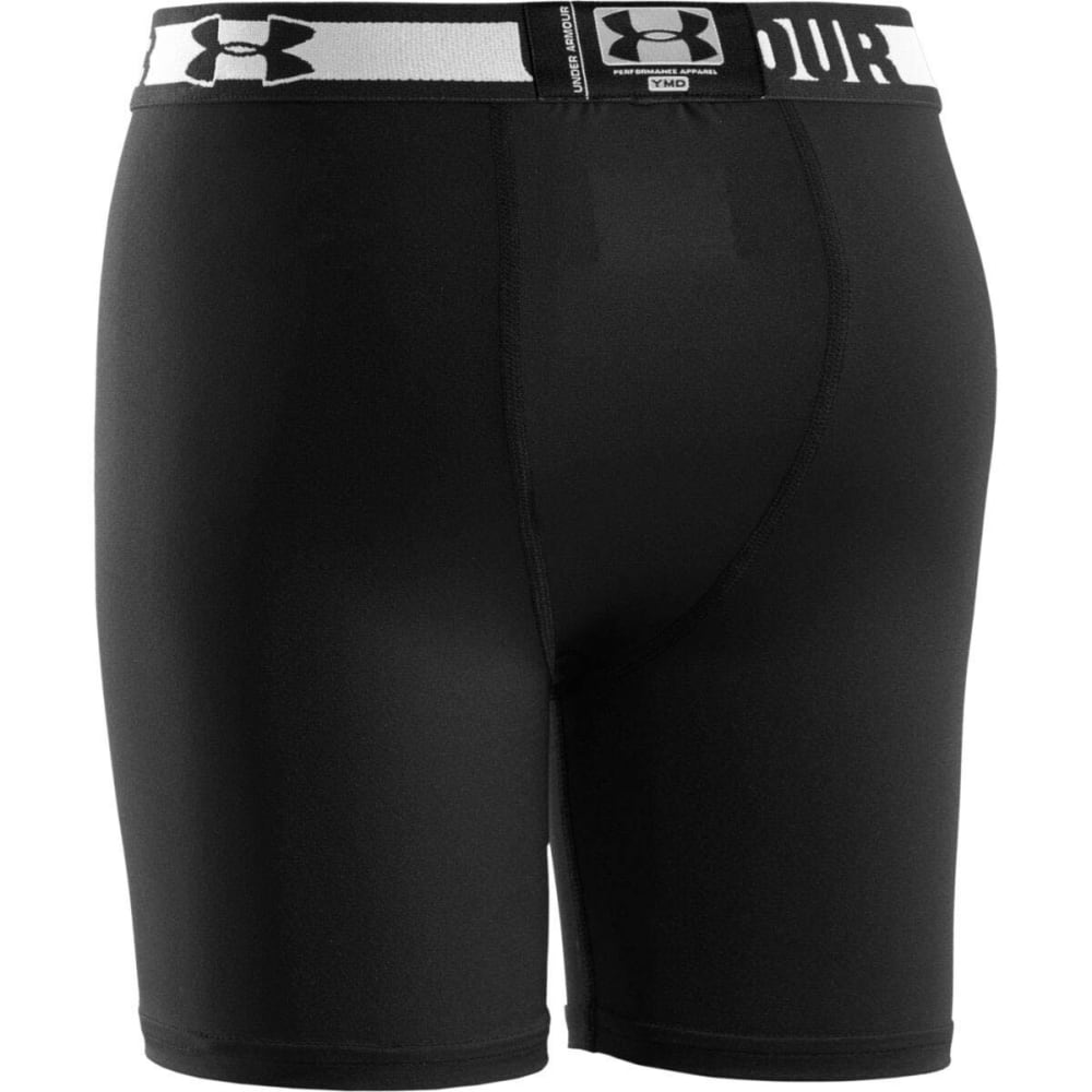 UNDER ARMOUR Boys' HeatGear® Sonic 4 in. Fitted Shorts - BLACK