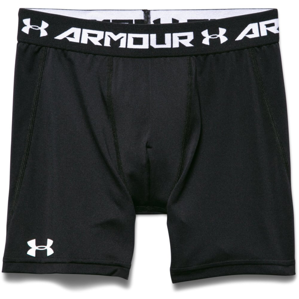 UNDER ARMOUR Boys' HeatGear Armour Fitted Shorts - BLACK-001