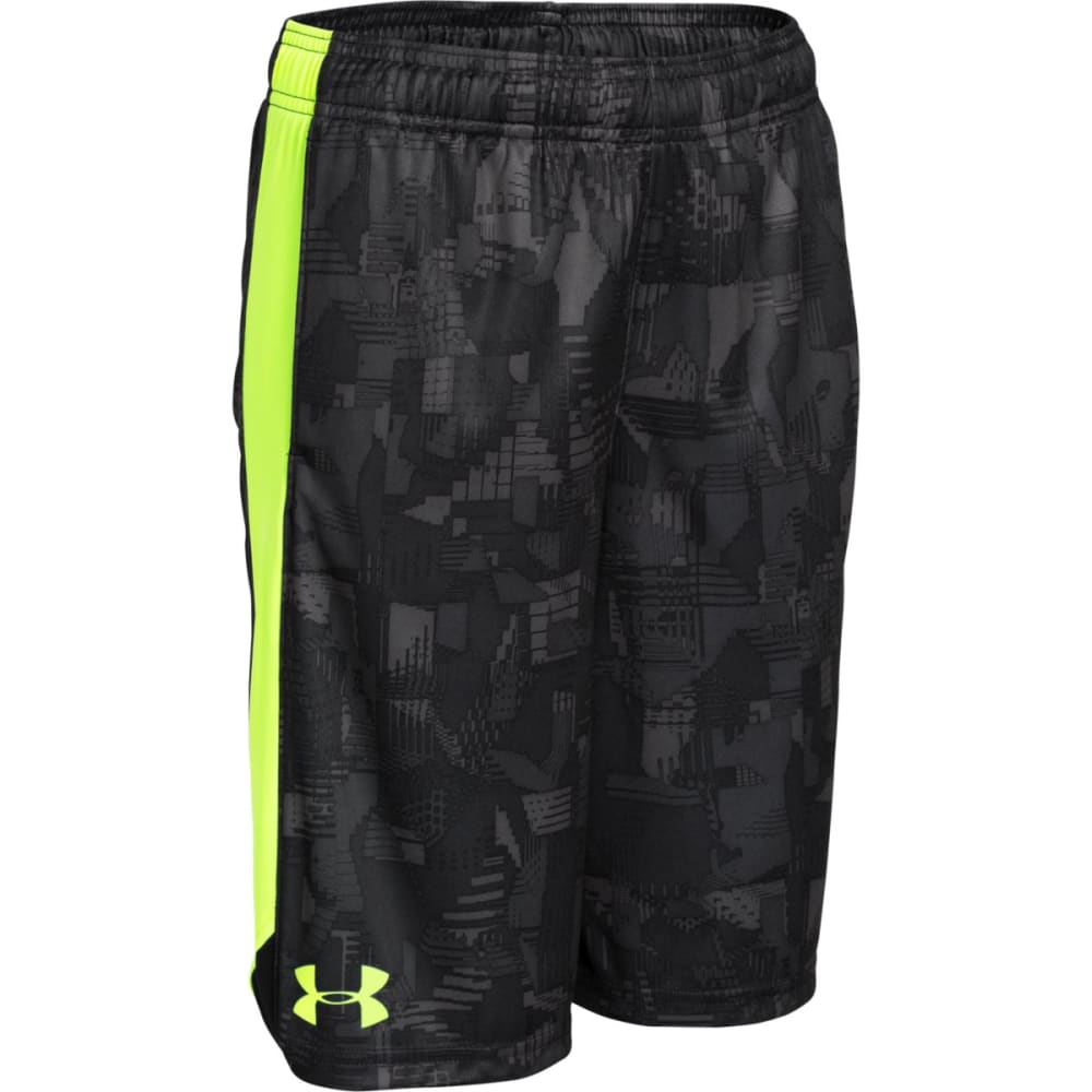 UNDER ARMOUR Boys' Eliminator Printed Shorts - STEALTH/GREEN-009