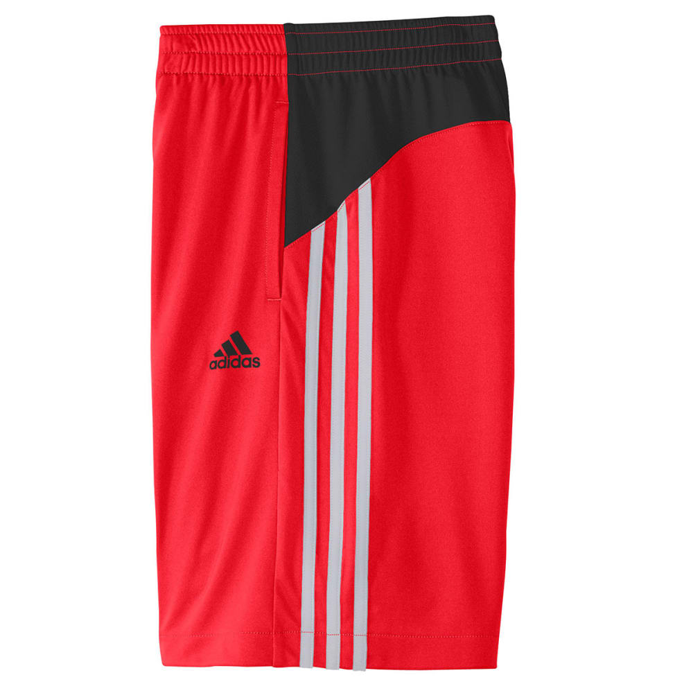 ADIDAS Boys' Poly Interlock Shorts - BLACK/RED