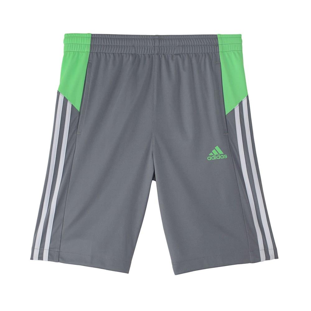 ADIDAS Boys' Poly Interlock Shorts - GREY/GREEN