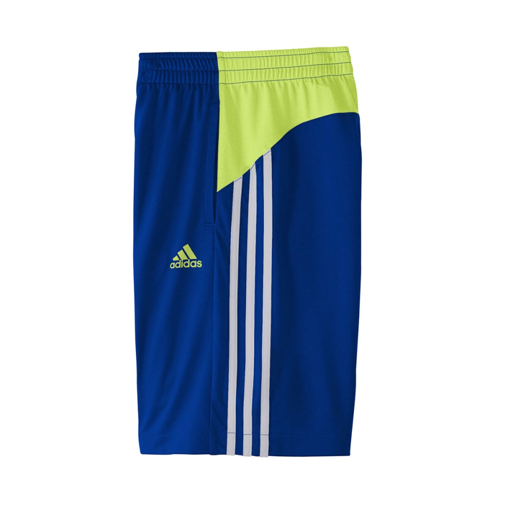 ADIDAS Boys' Poly Interlock Shorts - ROYAL/YELLOW