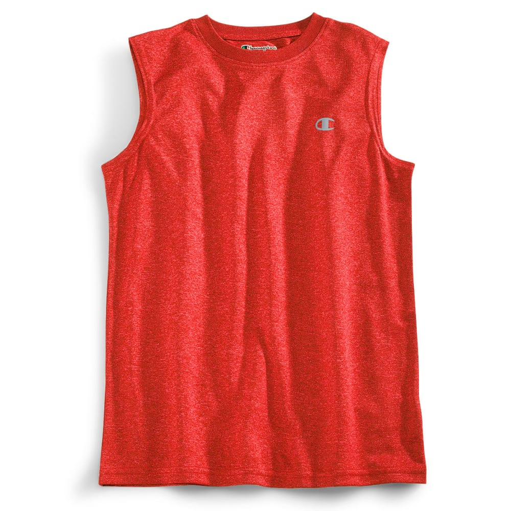 CHAMPION Boys' Heathered Muscle Tech Tee - CRIMSON HTHR