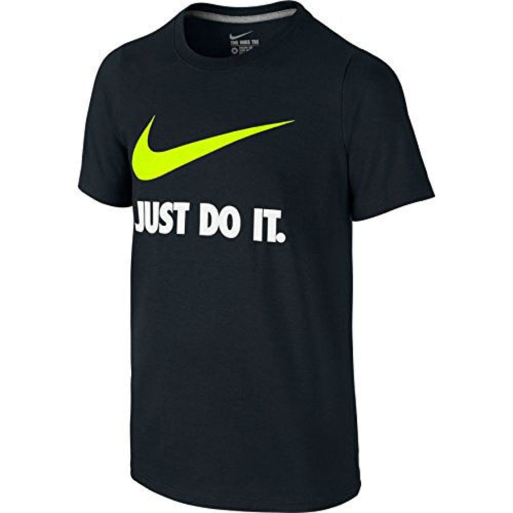 NIKE Boys' Just Do It Swoosh Tee - BLACK/VOLT-010
