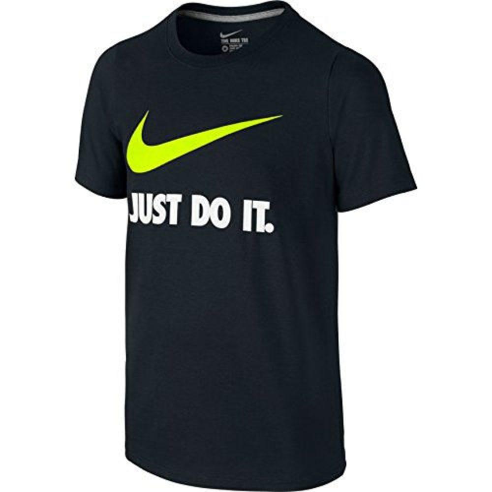 NIKE Boys' Just Do It Swoosh Tee - BLACK/VOLT-010