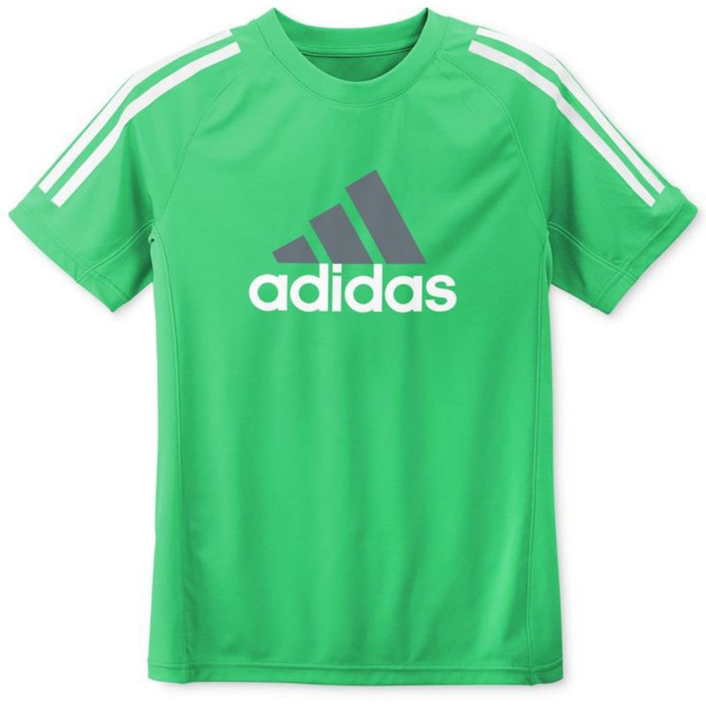 ADIDAS Boys' Logo Tech Top - GREEN/GREY