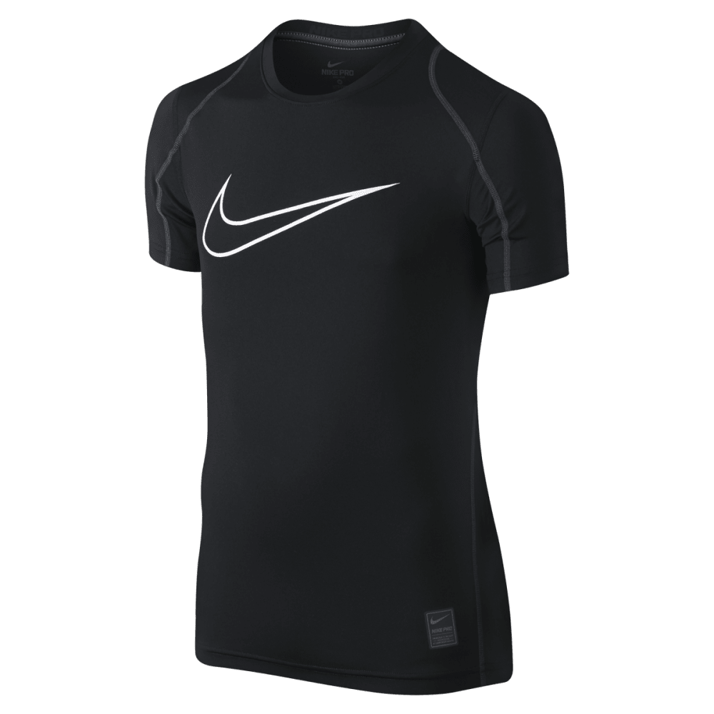 NIKE Boys' Cool HBR Fitted Short Sleeve Top - BLK/ANTH-010