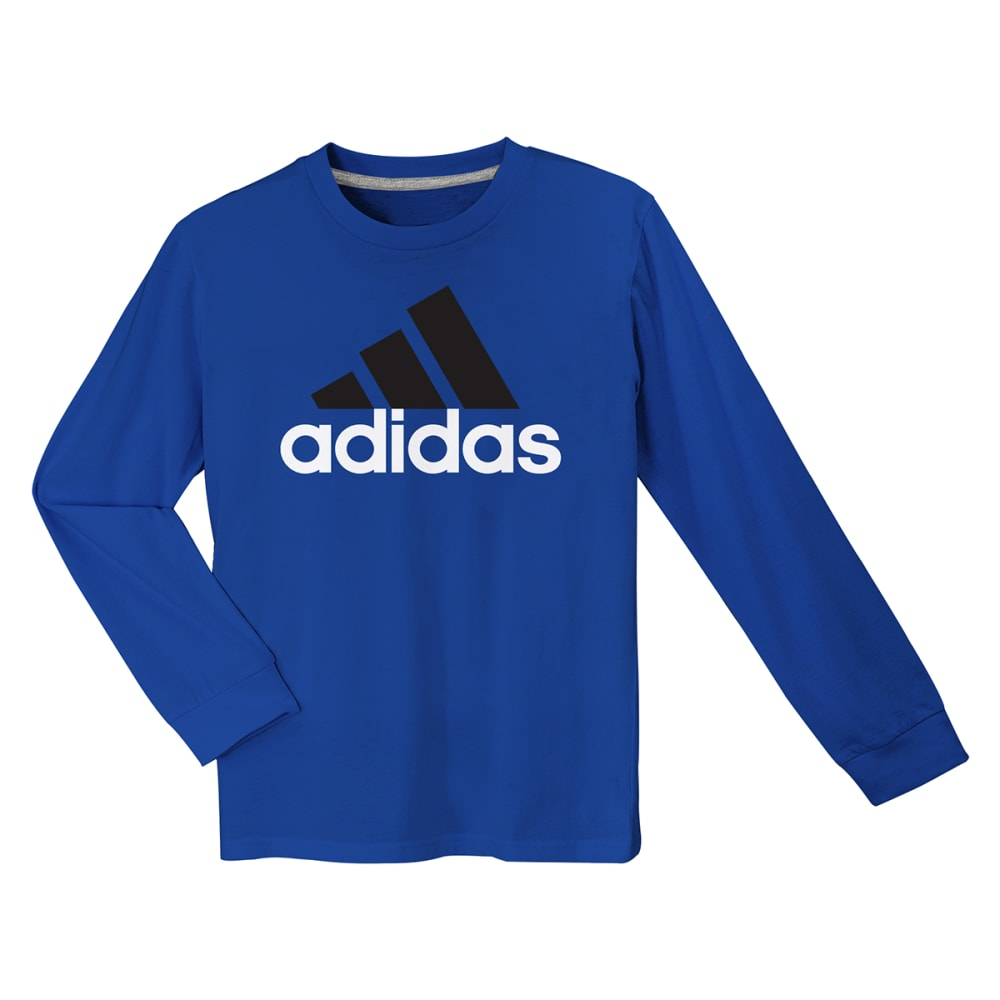 ADIDAS Boys' Logo Long-Sleeve Tee - BLUE/BLACK