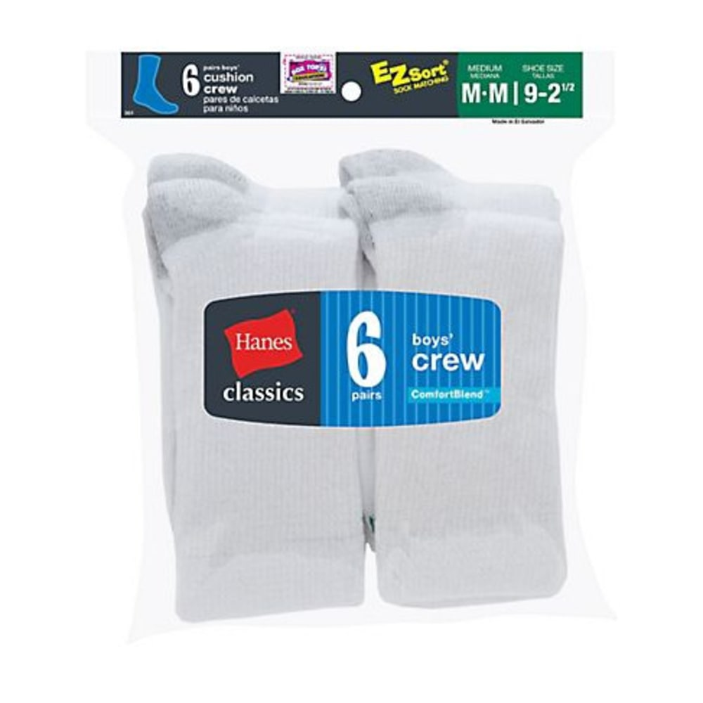HANES Boys' Classic Crew EZ Sort Socks, 6 Pack - WHITE