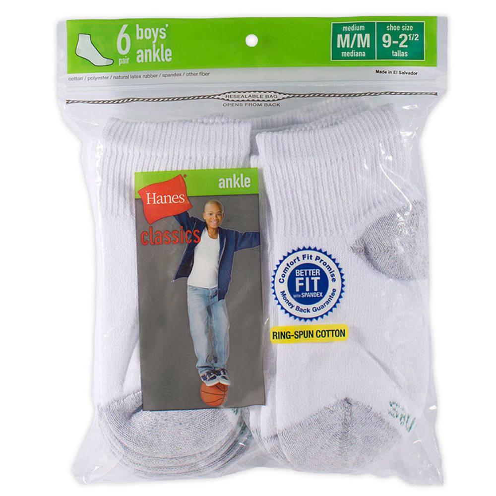 HANES Boys' Classics Ankle Socks, 6-Pack - WHITE