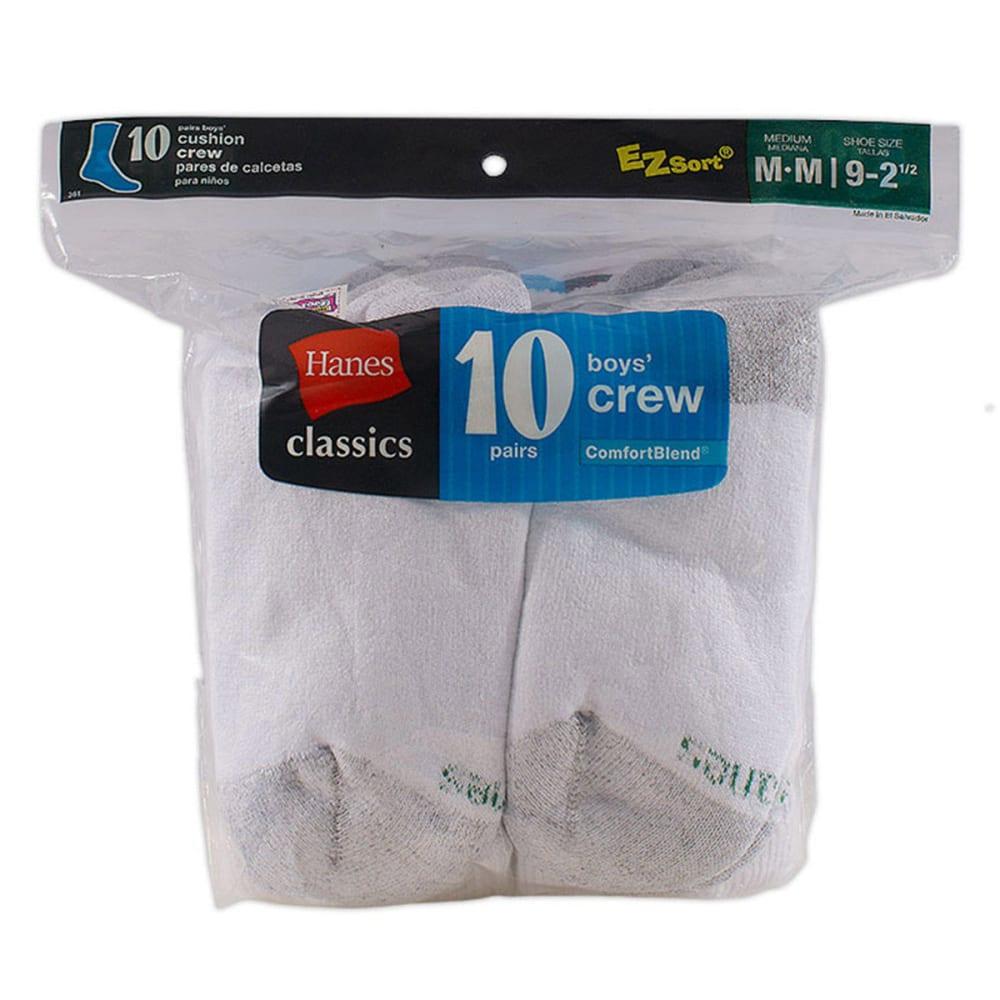 HANES Boys' Classics EZ Sort® Cushion Crew Socks, 10-Pack - WHITE