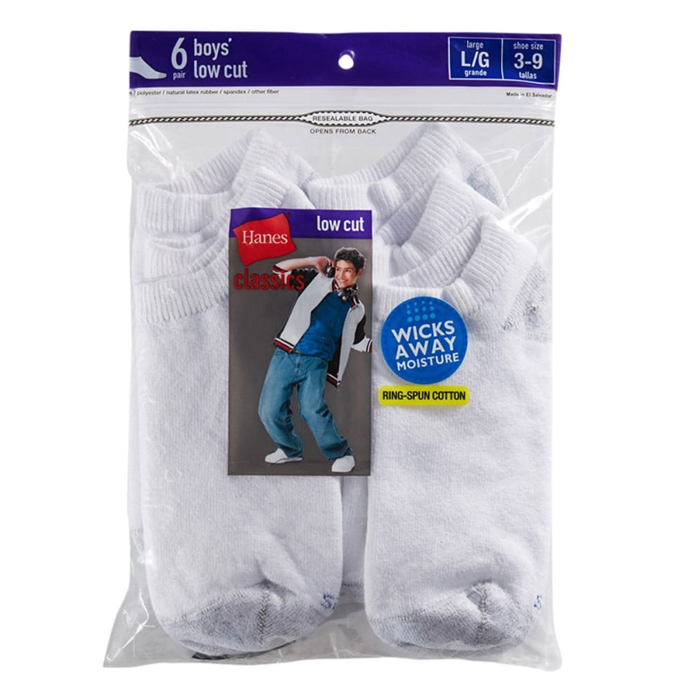 HANES Boys' Classics Low Cut EZ Sort® Socks, 6-Pack - WHITE