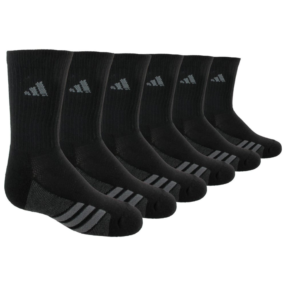 ADIDAS Youth Graphic Crew Socks, 6-Pack - BLACK 5125029