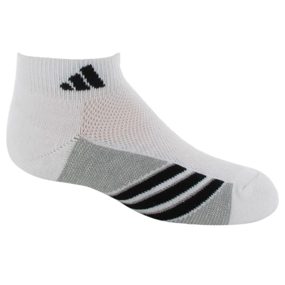 Adidas Youth Graphic Low Cut Socks, 6-Pack - White, 9-11