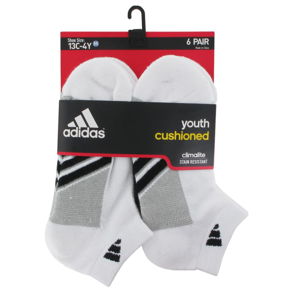 ADIDAS Youth Graphic Low Cut Socks, 6-Pack - WHITE 5124761