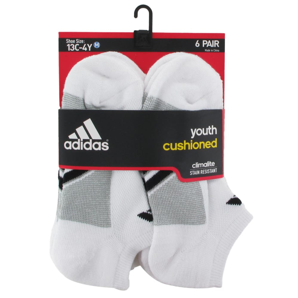 ADIDAS Youth Graphic Medium No Show Socks, 6-Pack - WHITE 5125150