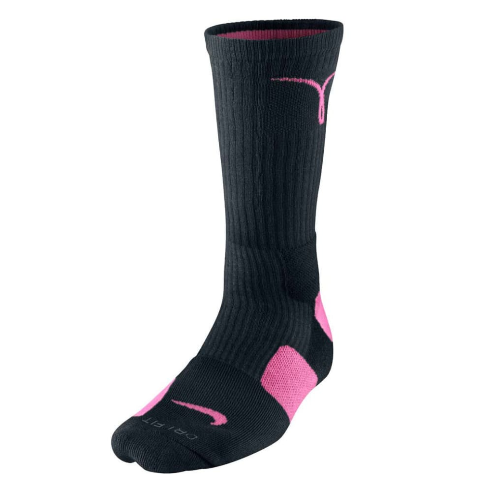 NIKE Kids' Kay Yow Elite Crew Basketball Socks - BLACK/PINK