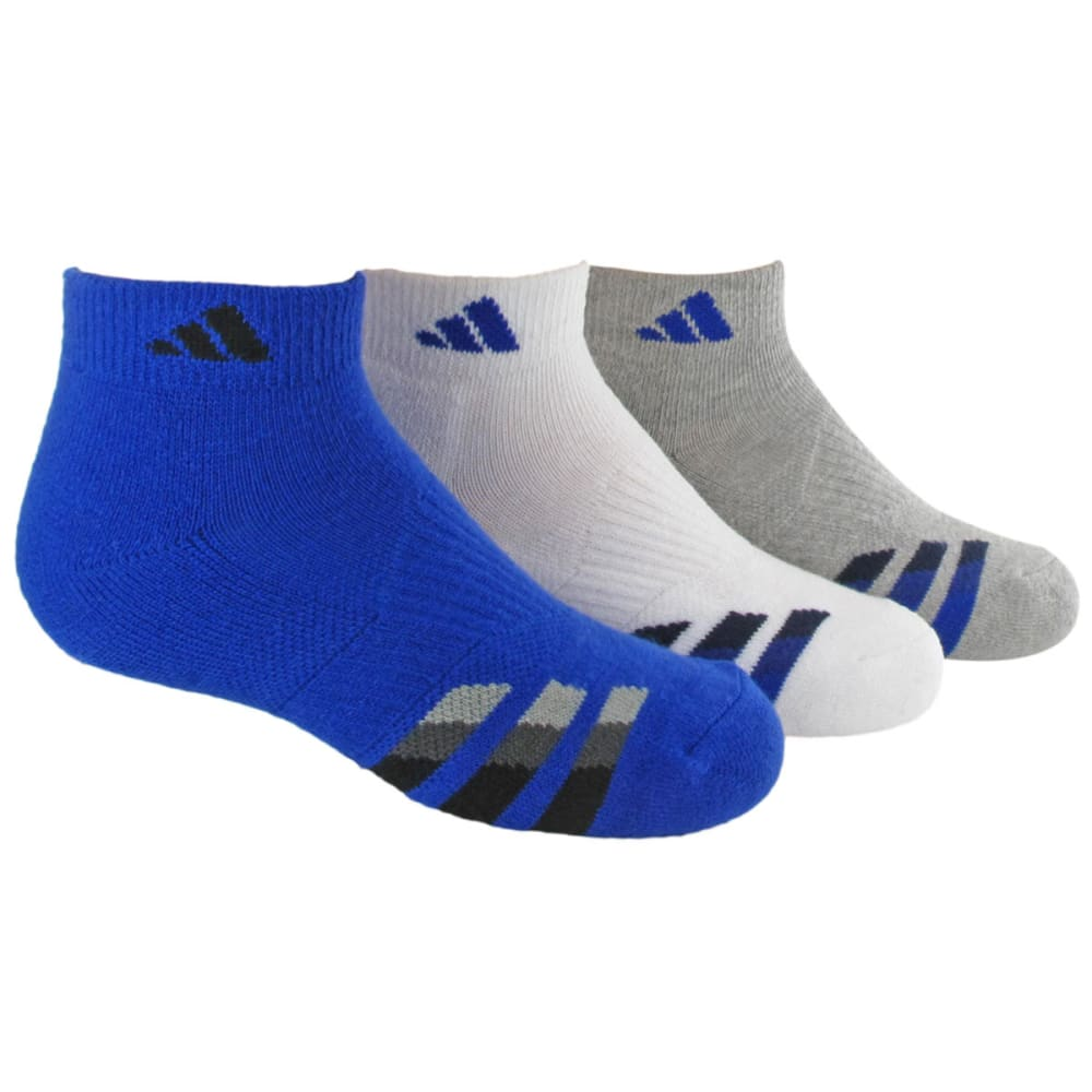 Adidas Youth Cushion Low Cut Socks, 3-Pack - Blue, L