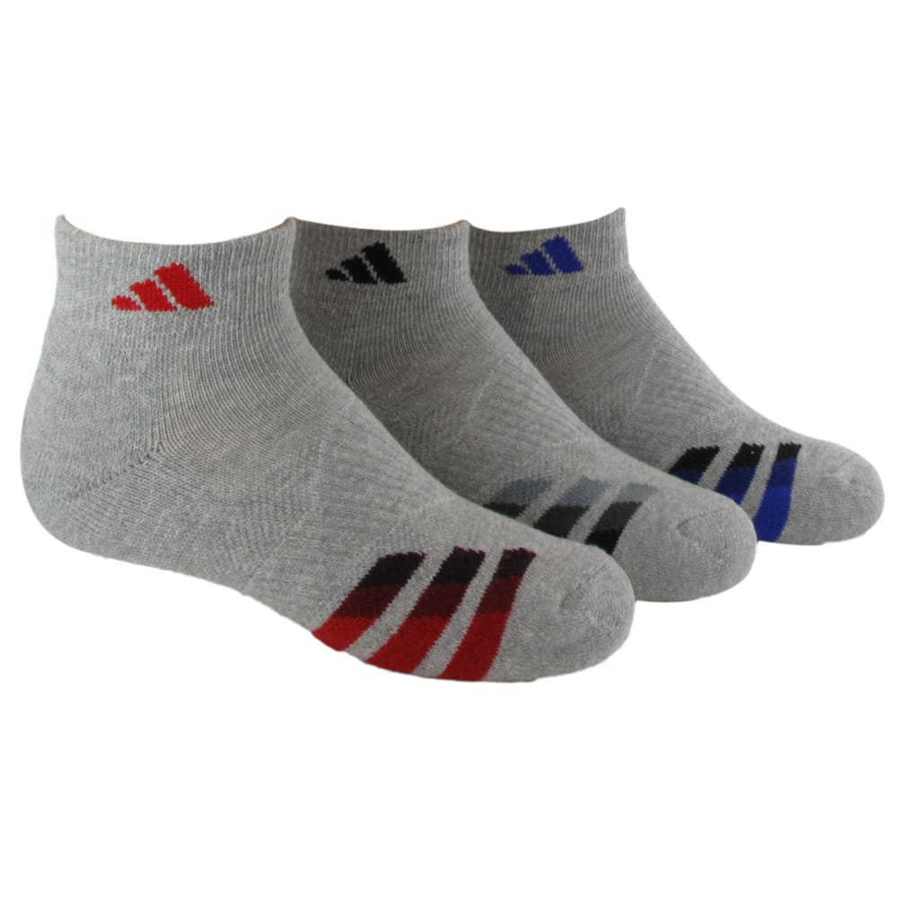 ADIDAS Youth Cushion Low Cut Socks, 3-Pack - HEATHER GRAY 5136164