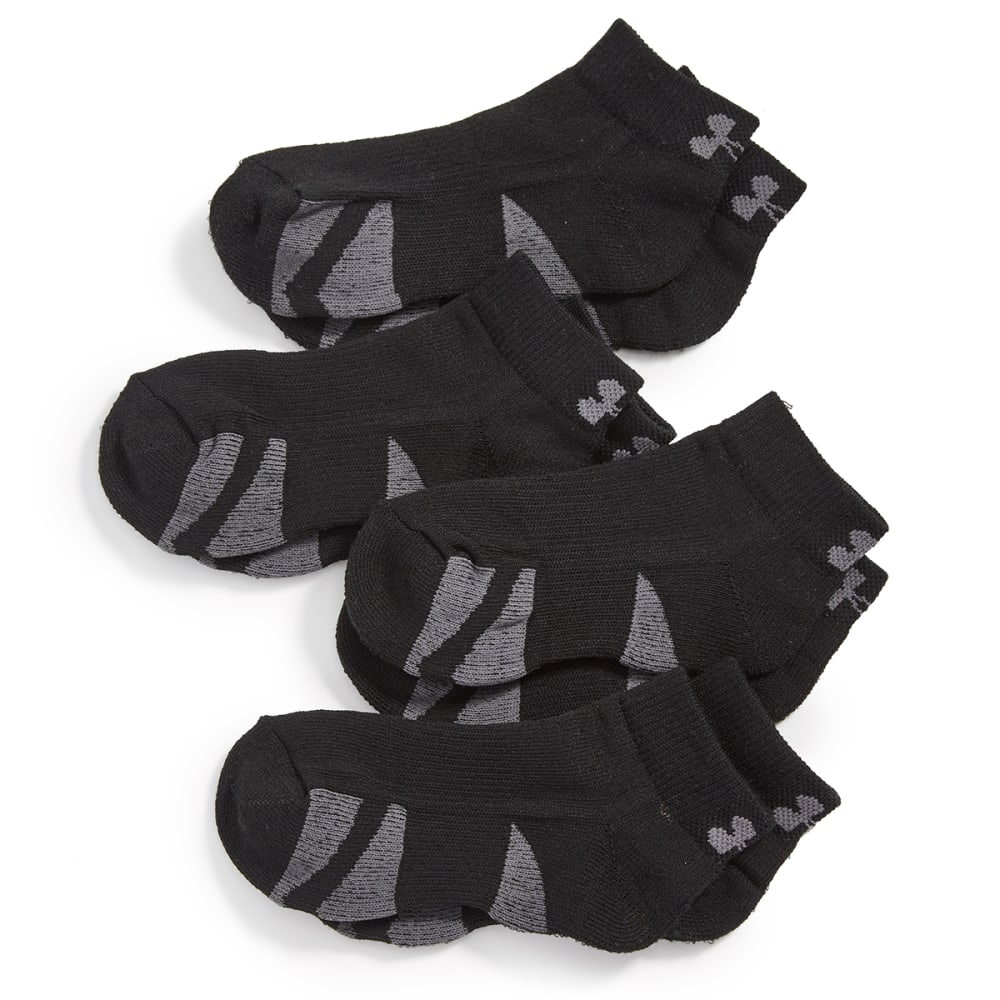 UNDER ARMOUR Big Boys' Low-Cut Socks, 4-Pack - BLACK