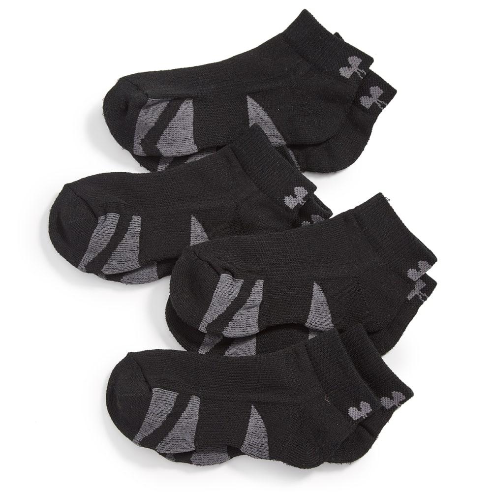 UNDER ARMOUR Big Boys' Low-Cut Socks, 4-Pack - BLACK