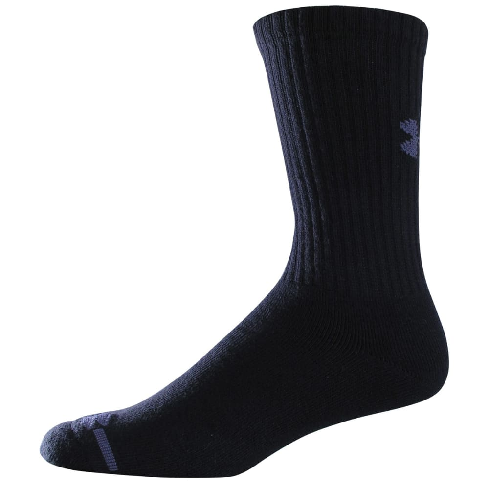 UNDER ARMOUR Youth Charged Cotton® Crew Socks, 6-Pack - BLACK