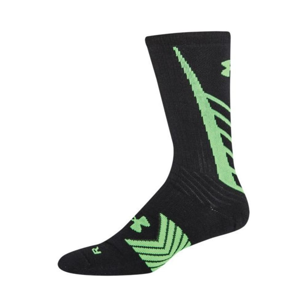 UNDER ARMOUR Youth Undeniable Crew Socks - BLACK/GREEN
