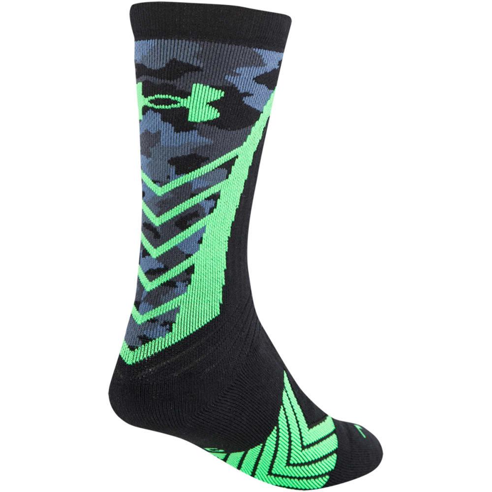 UNDER ARMOUR Boys' Undeniable Camo Socks - BLACK/HI VIS