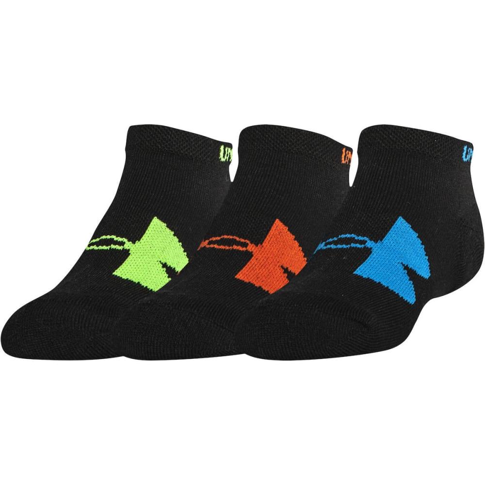 UNDER ARMOUR Boys' Solo IV HeatGear No-Show Socks, 3 Pack - BLACK ASSORT