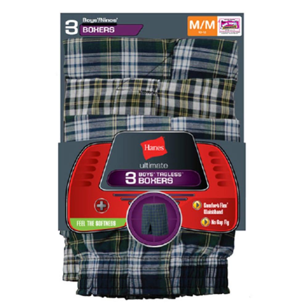 HANES Boys' Tartan Boxers 3-Pack S