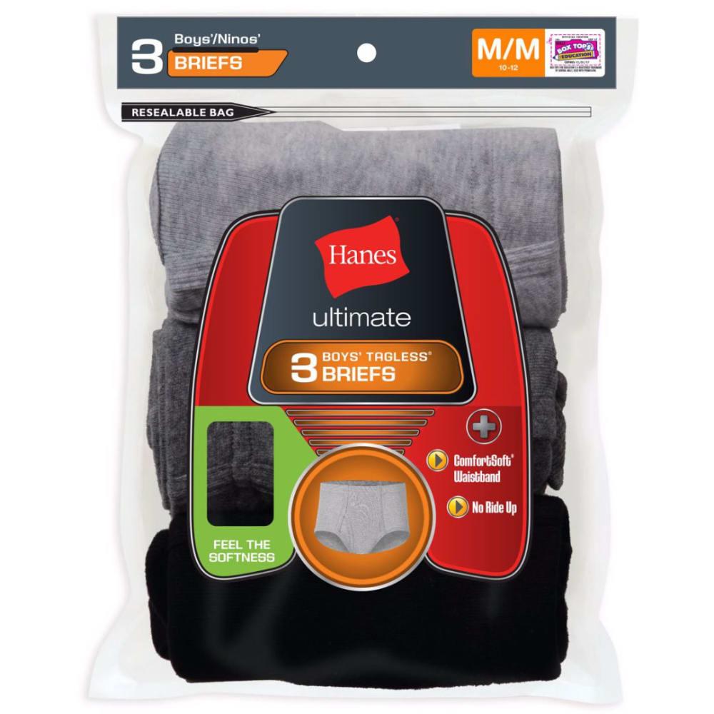 HANES Boys' Classics ComfortSoft® Briefs, 3-Pack - ASSORTED