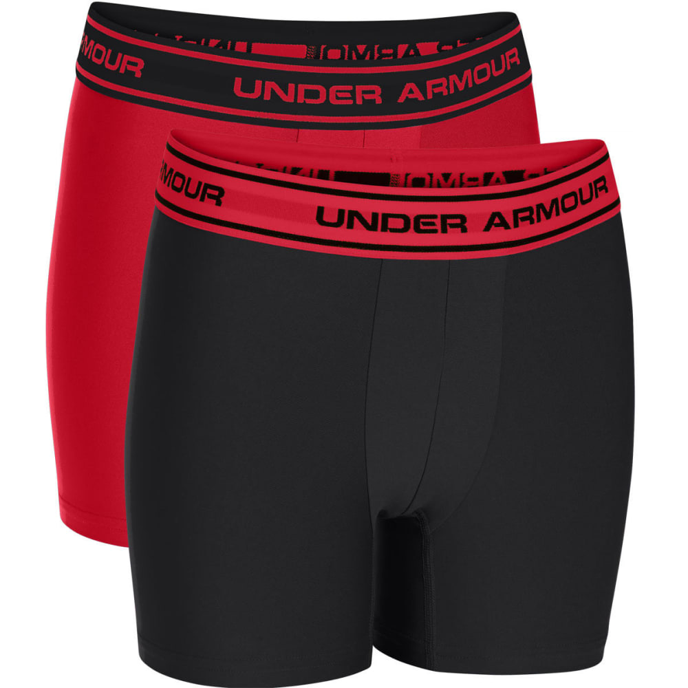 UNDER ARMOUR Boys' HeatGear® Performance Boxerjock® Boxer Briefs,  2-Pack - BLACK RED