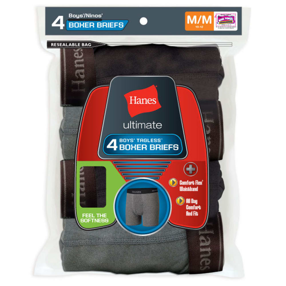 HANES Boys' Boxer Briefs 4-Pack - ASSORTED
