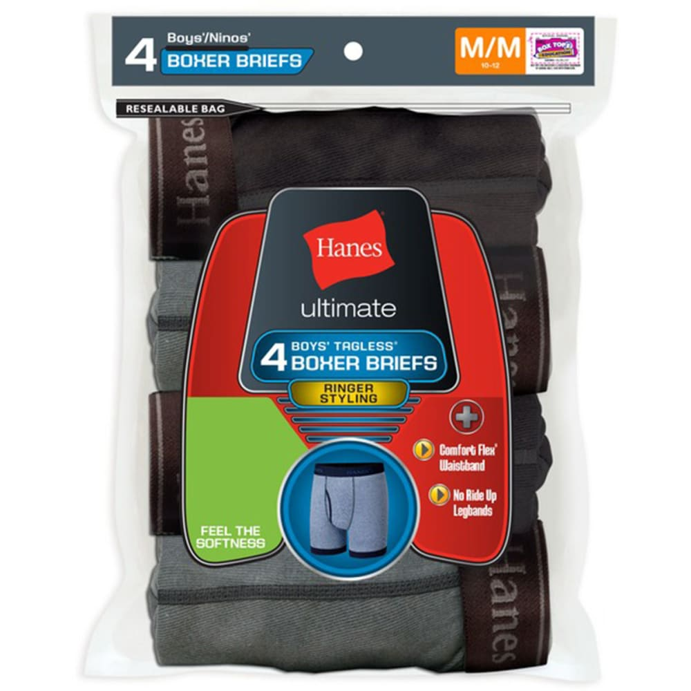 HANES Boy's Ringer Boxer Briefs 4-Pack - ASSORTED