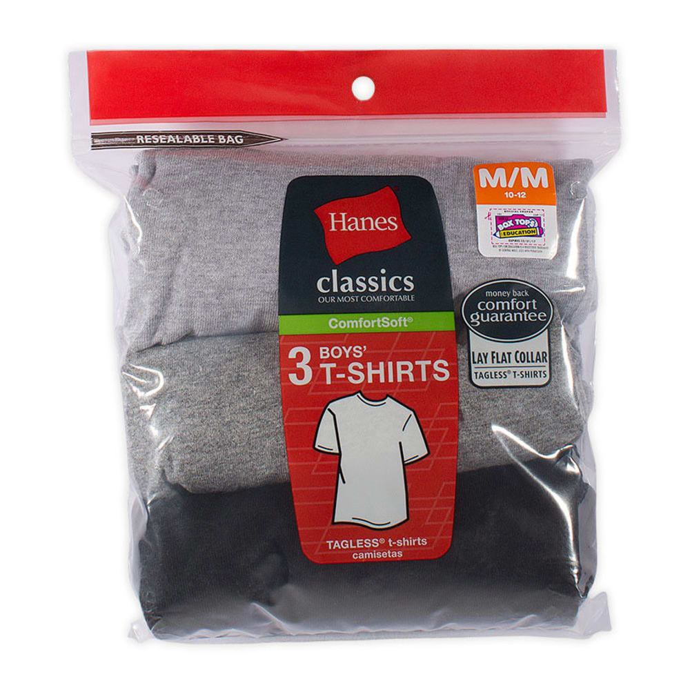 HANES Boys' Classics ComfortSoft® Tees, 3-Pack  - ASSORTED